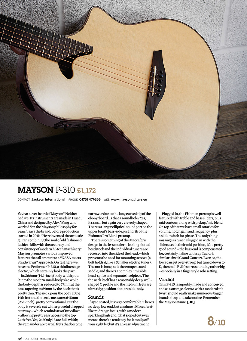 Reviews - Mayson Guitars